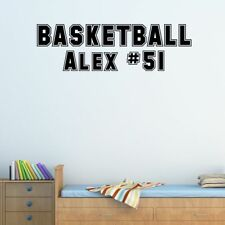 Custom Name & Number Basketball Vinyl Wall Decal Boy's Girl's Room Sticker Art