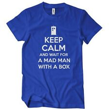 Keep Calm and Wait for a Mad Man with a Box T-Shirt T Dr Doctor Tardis Dalek Who