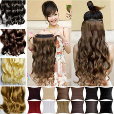 """17-24-27"""" long Curly straight Clip In on Hair Extensions 3/4 Full Head UK seller"""