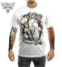 NEU MEN T-SHIRT - S M L XL XXL Prison Tattoo Style in Weiß
