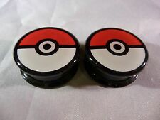 New! Pokemon Pokeball Ear Plugs Gauges Tunnel Piercings! Choose Your Size!