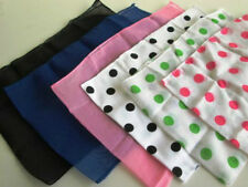 1950S 50'S CHIFFON SCARF BLACK PINK RED WHITE BLUE POLKA DOT 50'S COSTUME SCARF