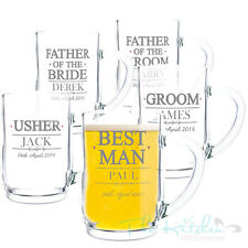 Personalised Beer Tankards Groom Best Man Usher Father o/t Bride Thank You Gifts