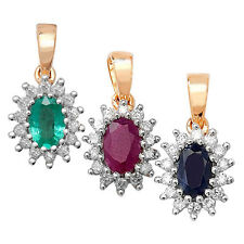 9ct Yellow Gold Emerald or Ruby or Sapphire Diamond Pendant