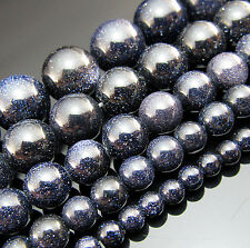 """Free 15"""" Natural Blue gravel Gemstone Round spacer Beads 4mm 6mm 8mm 10mm 12mm"""
