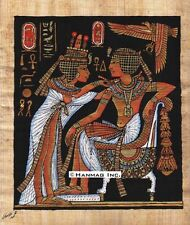 "Egyptian Papyrus Painting - Tut and Wife 8X12"" + Hand Painted + Description #43"