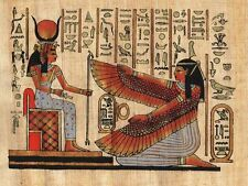 "Egyptian Papyrus Painting - Isis and winged Maat 7X9"" + Hand Painted #41"