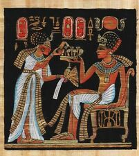 """Egyptian Papyrus Painting - King Tut  wife 7X9"""" + Hand Painted + Description #45"""