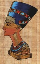 "Egyptian Papyrus - Queen Nefertiti 7X9"" + Hand Painted + FREE Description #19"