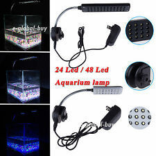 Led Aquarium Lamp With Flexible Arm Clip On 24Led 48LED Light Fish Tank Light UK
