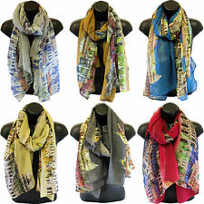 YUSCBALI43 London City Skyline print long shawls / scarves / wraps / head scarf