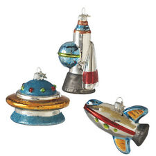 107492 One Outer Space Glass Ornament UFO Space Shuttle Rocket Astronaut World