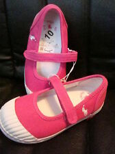 Polo Ralph Lauren Girls Sedena Mary Janes Pink Canvas Shoes NEW FREE SHIP