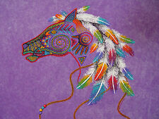 LADIES TOP T-SHIRT INDIAN HORSE HEAD FEATHERS Southwest Native American Navajo