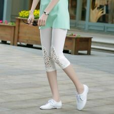 Women Girl's 3/4 Length Summer Lace Leggings Short Pants Tights Stretch 6 Colors