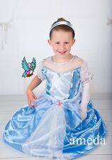 Gorgeous Cinderella Princess Bling Light Blue Crystal Lace Party Dress Costume