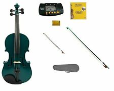 New Green Violin,Green Bow+Natural Bow,Case,2 Sets Strings,Rosin,Metro Tuner