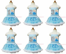 Winter Princess Elsa Blue Silver Birthday Print Snowflake Girl Halter Dress 1-8Y