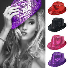 Men Women Glitter Sequin Fedora Trilby Cap Dance Jazz Hat Gangster Party Costume