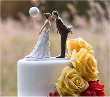 Wedding Bride and Groom Couple Figurine Cake Topper - Leaning in for a Kiss