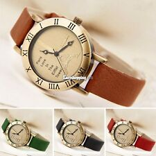Fashion Brown Genuine Leather Band+Tower Face Women Watch Bracelet Clock ES9P