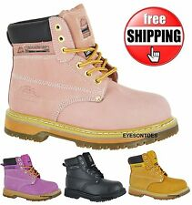 WOMANS LADIES SAFETY WORK PINK STEEL TOE CAP GROUNDWORK HIKING LEATHER BOOTS