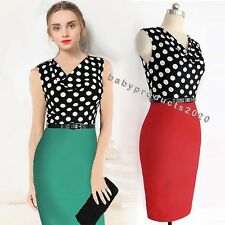 Generous Women Lady Dot Stitching Formal Work Office Dress Evening Party Dress