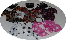 Black Hair Elastic / Scrunchie / Hairband Chiffon Polka Dot Fabric Bow /4038
