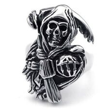 Men's 316L Stainless Steel Titanium Ghost With Gun Rock N' Roll Ring G073405