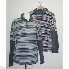 """NEW Bagged Mens MAINE Grey Stripe Rugby T Shirt Top Small  40"""" Chest"""