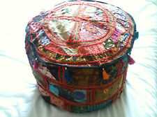 BRIGHT FUNKY HIP BOHO TRIBAL SHABBY-CHIC PATCHWORK CUSHION FOOTSTOOL POUFFE 460