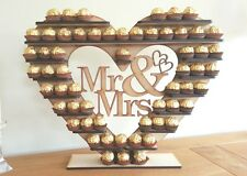 "Ferrero Rocher Heart Tree, with Removable ""Mr & Mrs"" holds 59 or 118 you choose"