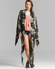 NWT Free People printed duster scarf poncho jacket in twilight combo $198