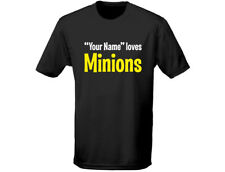 """Your Name"" Loves Minions Kids Personalised Funny T-Shirt Unisex (12 Colours)"
