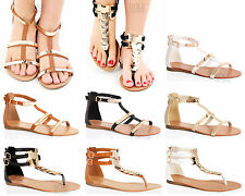 WOMENS LADIES T-BAR THONG LINK ANKLE ZIP SUMMER BEACH HOLIDAY FLAT SANDALS SIZE