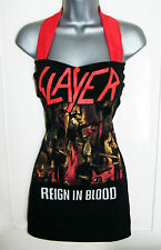 Sexy SLAYER T-Shirt DIY Halterneck Pinup Black Red Long Top 10-12 14-16 Goth