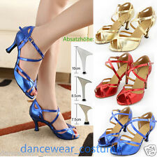 New Women's Waltz Prom Ballroom Latin Tango Dance Salsa Shoes Heeled 5-9 3Colors