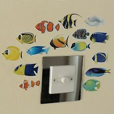 15 Fish Indoor or Outdoor Wall Art Stickers or Window Cling on a Sheet of A4