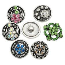 Wholesale Lots Snap Buttons Fit Snap Bracelet Colorful Rhinestone Mixed 21mm