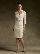 Short champagne Mother of the Bride dress free Jacket Stock Sz6 8 10 12 14 16