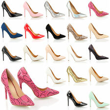 WOMENS LADIES OFFICE SMART WORK PARTY HIGH HEEL STILETTO POINT COURT SHOES SIZE