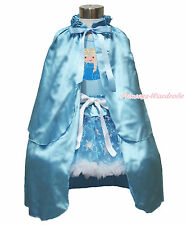 Princess Elsa Print Blue Top Snowflake Organza Pettiskirt Cape Costume Set 1-8Y