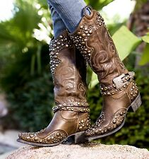 DD9026A DD Ranch Lane Peralta Charcoal Brown Leather Cowgirl Boots