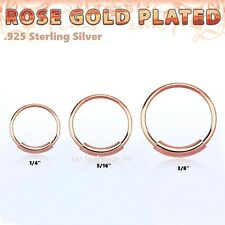 "22G~1/4"",5/16"",3/8"" Real Rose Gold Plated .925 Sterling Silver Endless Nose Hoop"