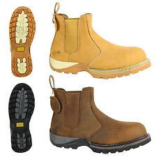 MENS GROUNDWORK STEEL TOE CAP SAFETY WORK OUTDOOR ANKLE DEALER PULLON BOOTS SIZE