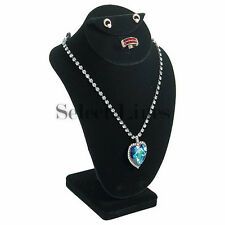 "Black Velvet 10""H Necklace Earring & Ring Combo Bust Jewelry Display Stand Form"