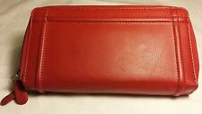 LADIES ROLFS LEATHER CHECKBOOK DOUBLE ZIP AROUND WALLET RED, BLACK, BLUE, BROWN