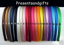 ✿ 3 x 10mm PLAIN SATIN HEADBANDS ALICE BANDS HAIR ACCESSORIES CHOOSE COLOUR ✿