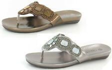 SALE - LADIES SLIP ON BRONZE AND PEWTER BEADED DETAIL SUMMER FLIP FLOPS F0569