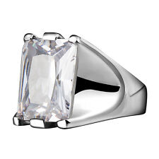 Stainless Steel Big Large 10 Carat Solitaire Rectangular Clear CZ Ring Sz 6-9 US
